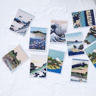 【CHL】陌墨 日式 復古 富士山 風景 浮世繪 風格 映畫 郵票 裝飾 貼紙 新北市