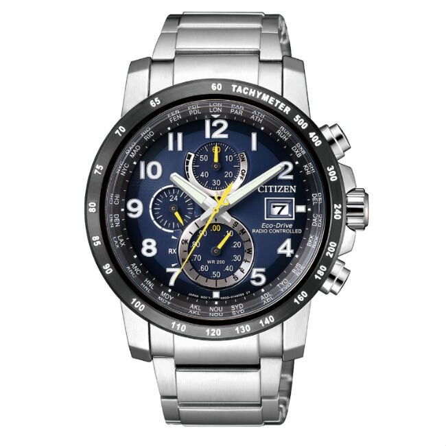 CITIZEN 星辰錶 AT8124-91L 高科技品味電波光動能腕錶 /藍x黑 43mm