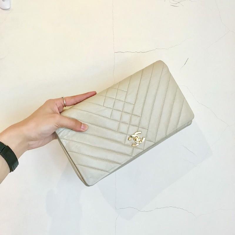 Chanel vintage coco clutch 香奈兒coco 駝色書包扣手拿包