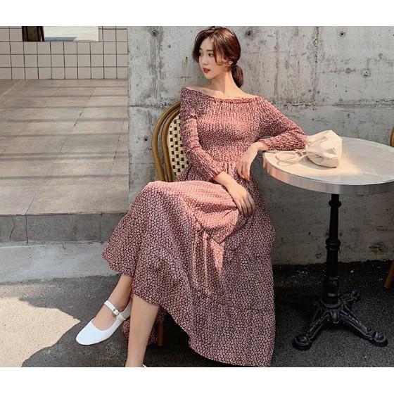 長洋裝 連身裙 一字肩S-XL很仙的法國小眾連衣裙碎花雪紡復古裙山本過膝長裙NE524.7004胖胖美依