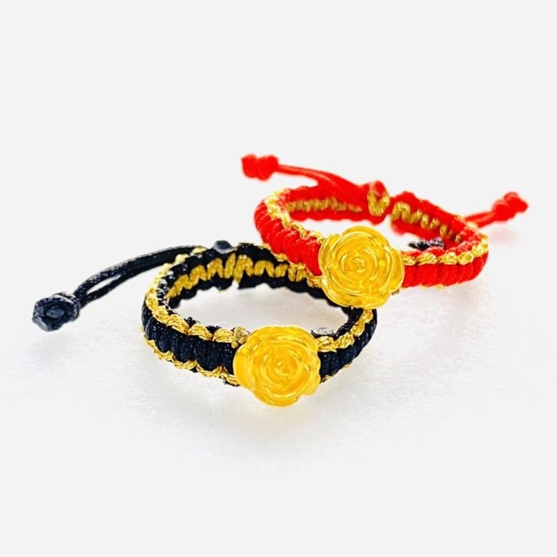 9999純金 黃金玫瑰花戒指 約0.02錢 多色可選 黃金戒指 伸縮可調 生日禮物 金喜飛來