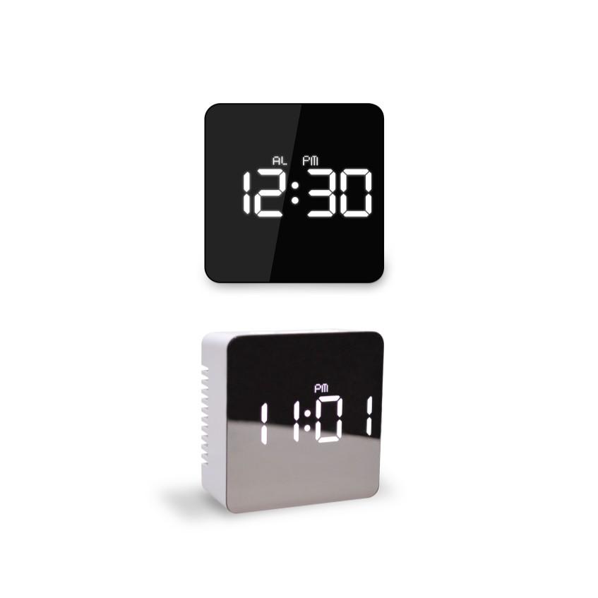 MOOAS 多功能 LED鏡面時鐘 可當化妝鏡使用 _ 正方款