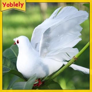 和平鴿仿真白鴿婚慶商場裝飾羽毛鴿子綠植綁樹枝展翅鴿(8916小飛鴿)