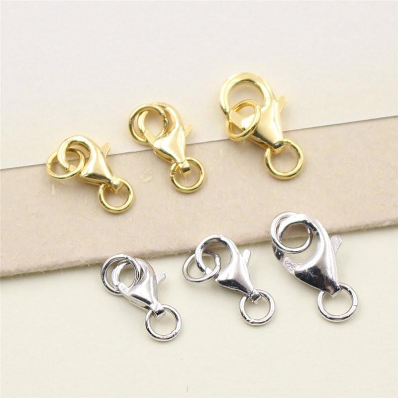 NO.1 艾銀銀飾s925純銀手鏈扣子 diy手工配件材料 鍍白金黃金龍蝦扣