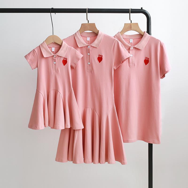 親子裝母女裙夏裝2020新款潮一家三口裝洋母子裝短袖T恤POLO衫 親子裝 情侶裝 童裝 一家四口154