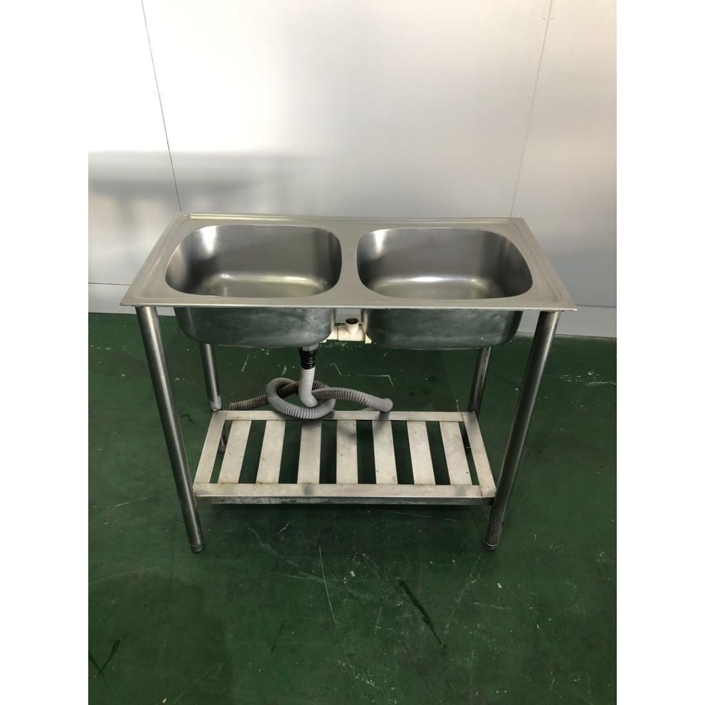 二手家具全省估價(大台北冠均 新五店)二手貨中心--白鐵兩口小水槽 洗手槽 洗手台 雙口水槽 M-9052512