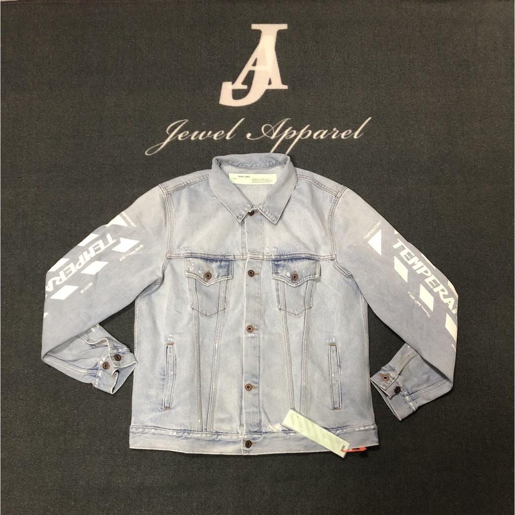 『Jewel Apparel 』OFF-WHITE 18SS 手臂標語  水洗牛仔外套 吳亦凡同款