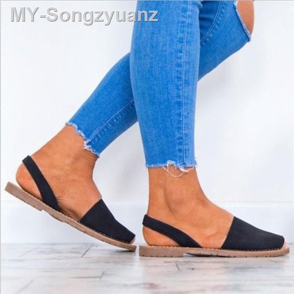 Fs: 女士時尚平底大碼窺視腳趾休閒純色皮革涼鞋