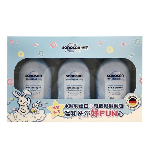 【超級吧樂活】珊諾baby 澎澎限量重量組 洗髮沐浴露 500ml x3