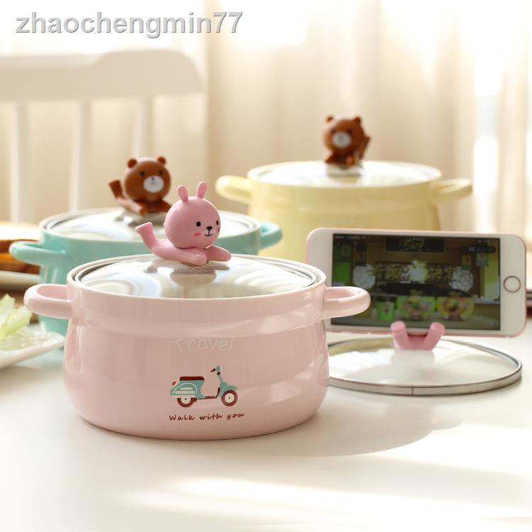 ☎韓國卡通創意泡面碗帶蓋帶叉勺雙耳可愛學生宿舍陶瓷湯飯碗1000ml