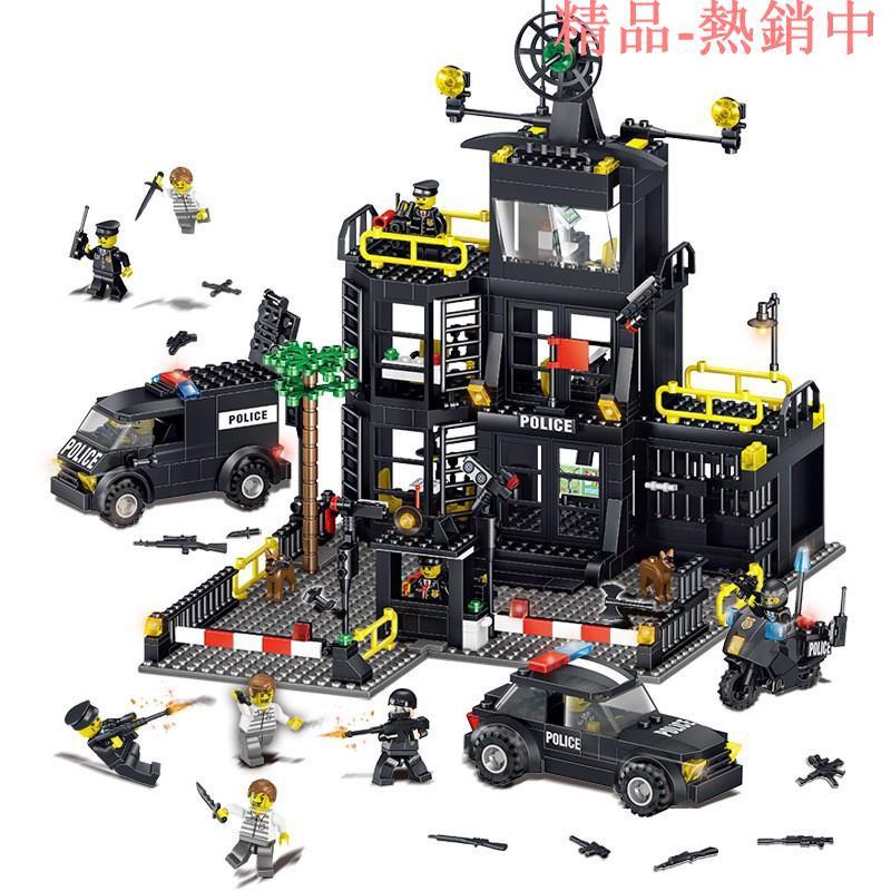 現貨【城市警察系列】積奇樂42017機變特警察局大樓警車小顆粒益智力兒童拼裝積木玩具兼容樂高
