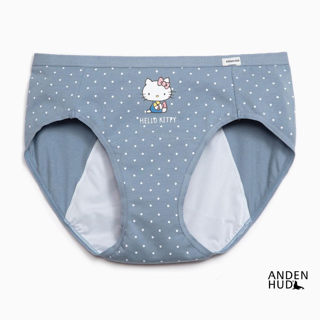 【Anden Hud】Hello Kitty懷舊系列.中腰生理褲(藍點點-糖果) 台灣製