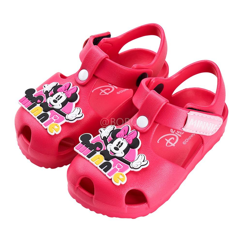 迪士尼童鞋 米妮 立體造型護趾防水涼鞋-桃