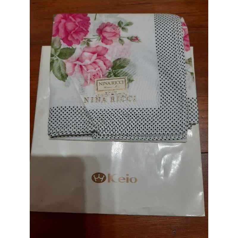 日本制 法國 NINA RICCI 花朵 淑女 純棉 大手帕 絲巾