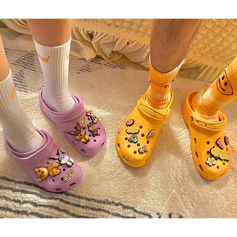 CrocsX Justin Bieber withDrewHouse同款休閒洞洞鞋 拖鞋 沙灘鞋 防水雨鞋