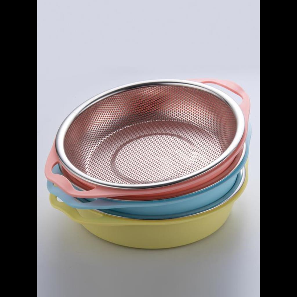 餐 304 不銹鋼瀝水盆家用瀝水盆洗臉米盆廚房米篩洗盆滴水籃瀝水巴