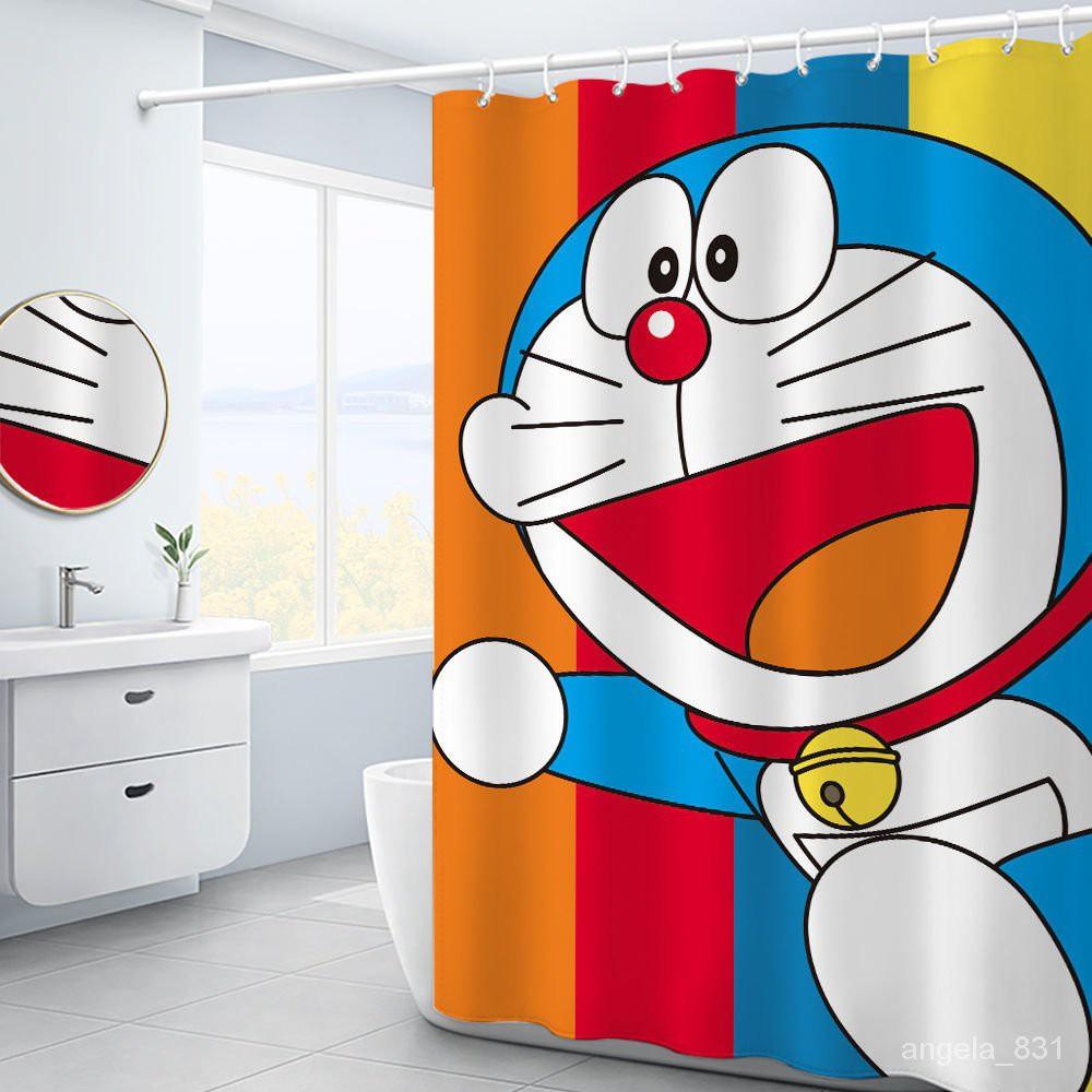 優選好物卡通哆啦A夢浴簾套裝衛生間加厚隔斷簾防霉衛生間浴室門簾防水簾 vrjk