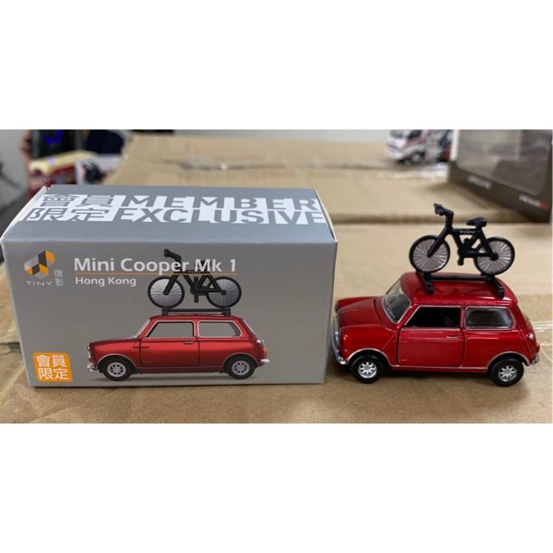 Tiny 微影 1/64 會員限定  Mini Cooper MK1 紅色 付腳踏車
