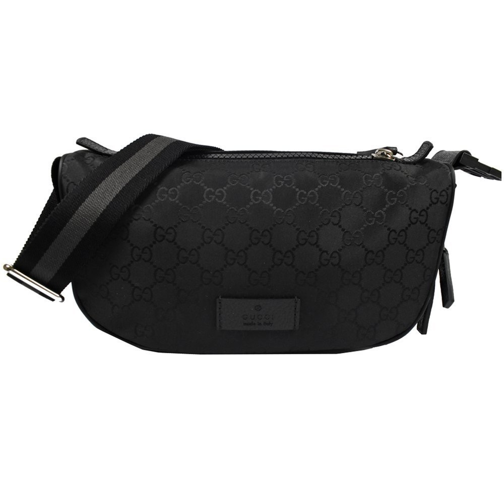 英國代購 Gucci 經典雙G緹花尼龍斜背腰包