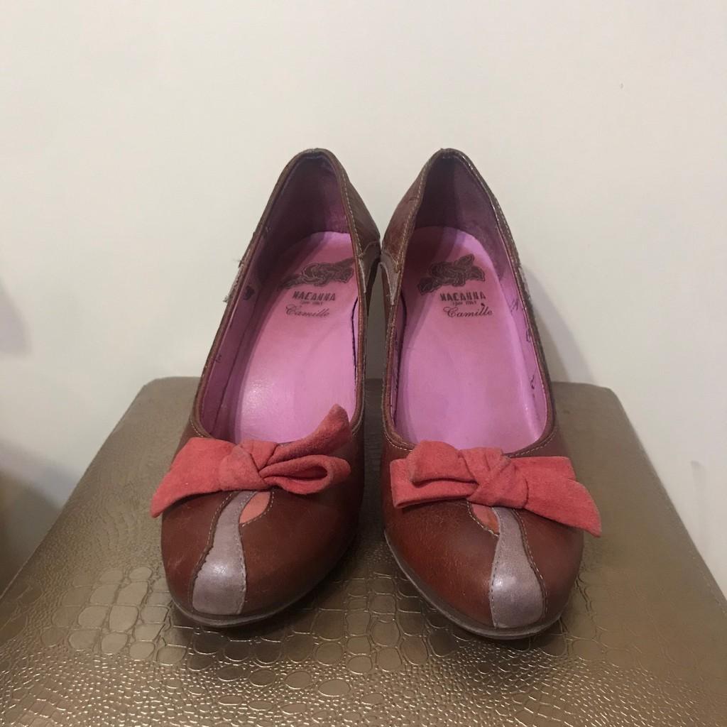 Macanna麥坎納義大利女鞋/紅色蝴蝶結真皮中跟包鞋/二手