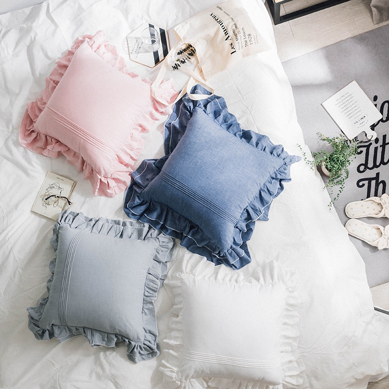 【思熠家居】韓式木耳邊抱枕 純棉水洗棉荷葉邊抱枕 素色靠墊 汽車腰墊 客廳沙發靠墊 抱枕套