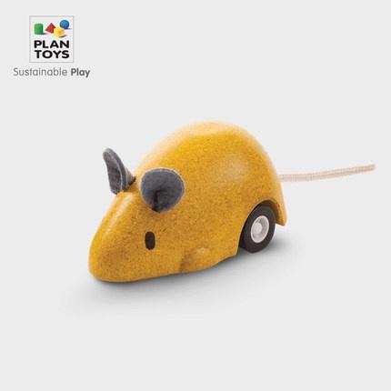 Plan toys 可愛小老鼠 迴力車玩具 木製玩具 玩具車 寶寶玩具車 老鼠玩具 益智玩具 安全玩具 交通玩具 鼠玩具
