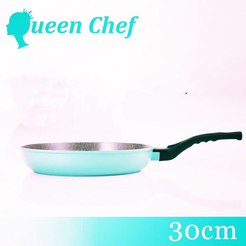 【Queen Chef】韓國礦岩鈦合金鑄造不沾鍋平底鍋 30CM 湖水藍