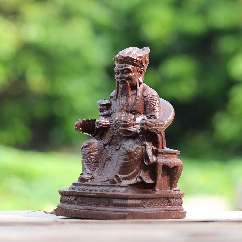 紅木雕土地公神像福德正神土地爺風水招財擺件供奉神像雕刻工藝品
