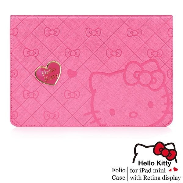 近全新~GARMMA Hello Kitty iPad mini 皮套(寵愛桃)~mini2/mini3通用~售990元