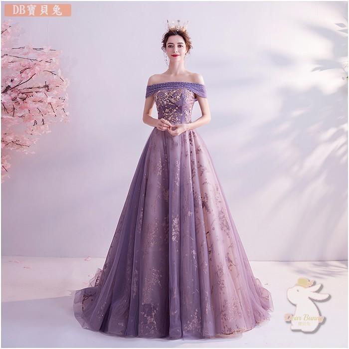🐇寶貝兔 L92FD 粉色紫色一字領短袖長款禮服 新娘敬酒演出伴娘 新娘禮服晚禮服 大尺碼可訂做 宴會禮服婚紗