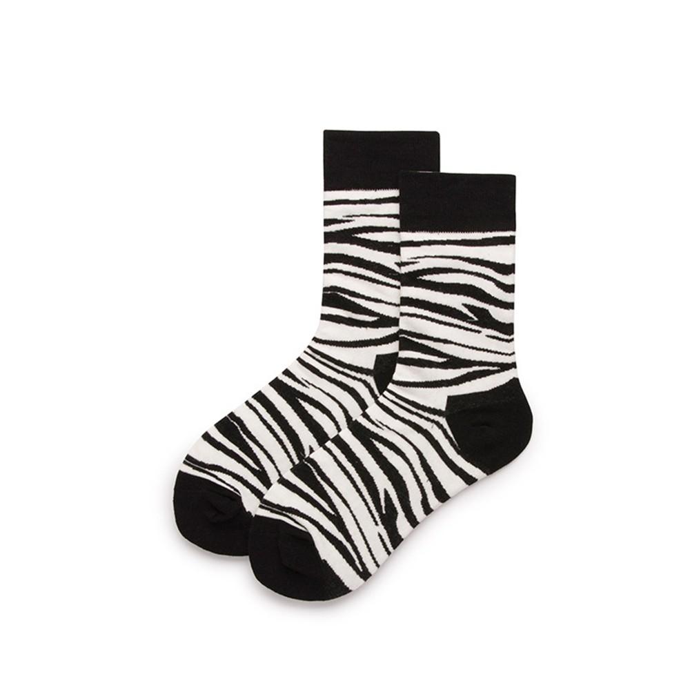 大唐襪業 D40街頭風ins男女同款黑白拼色中筒襪時尚斑馬豹紋潮襪英倫風情侶襪
