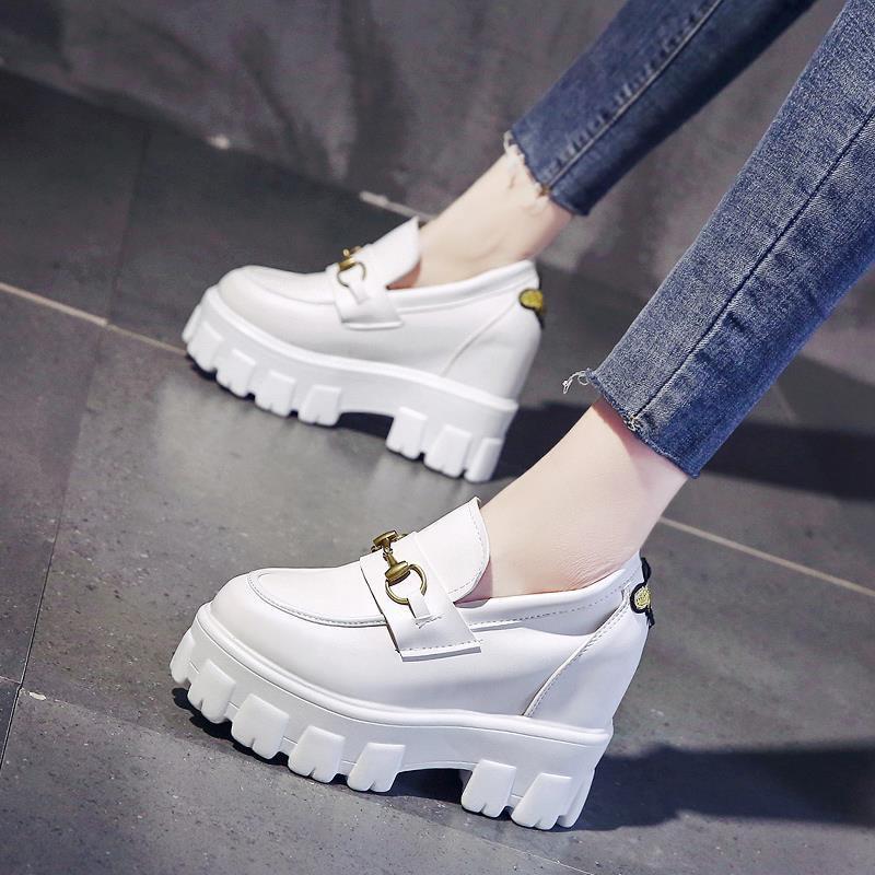 ★現貨★ 厚底鞋 英倫風小皮鞋 女2020年 春季百搭春款 單鞋 內增高女鞋 松糕厚底小白鞋