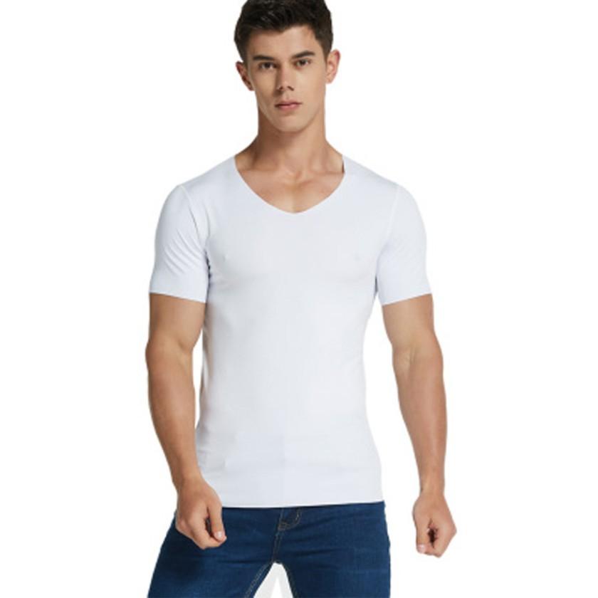 冰絲短袖男士無痕速干t恤 薄款純色牛奶絲滑上衣 寬松v領白色半袖吸濕 排汗透氣親膚男士Top