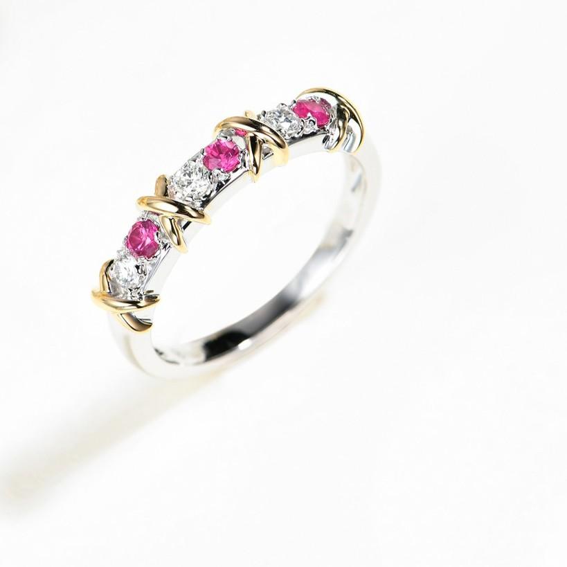【巧品珠寶】18K 天然紅寶石 伴鑲鑽石 X型設計款 戒指