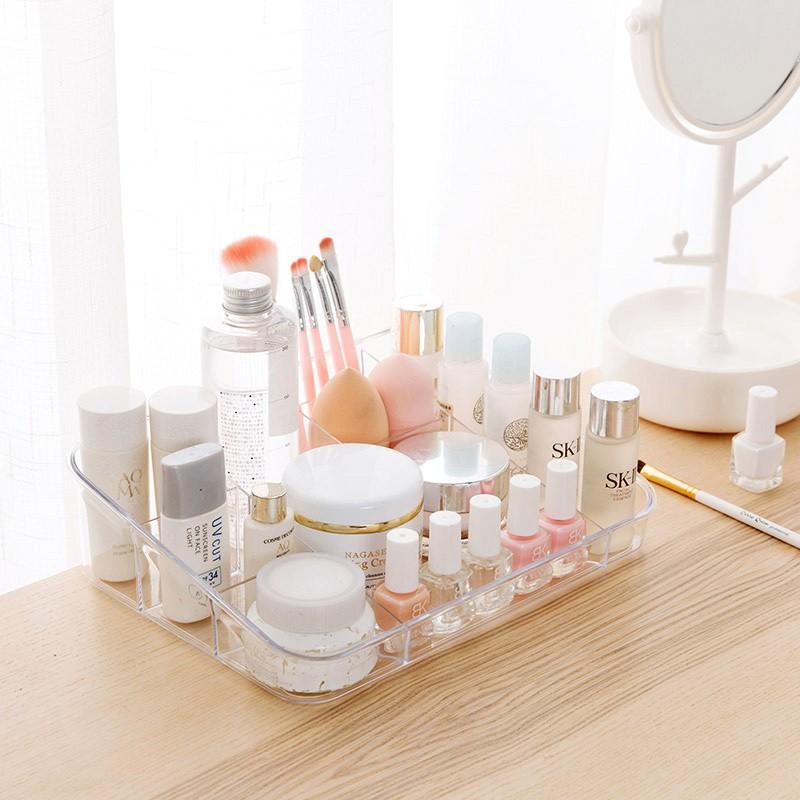 居家家 透明多格收納盒梳粧檯化妝品儲物盒 辦公室桌面塑膠整理盒