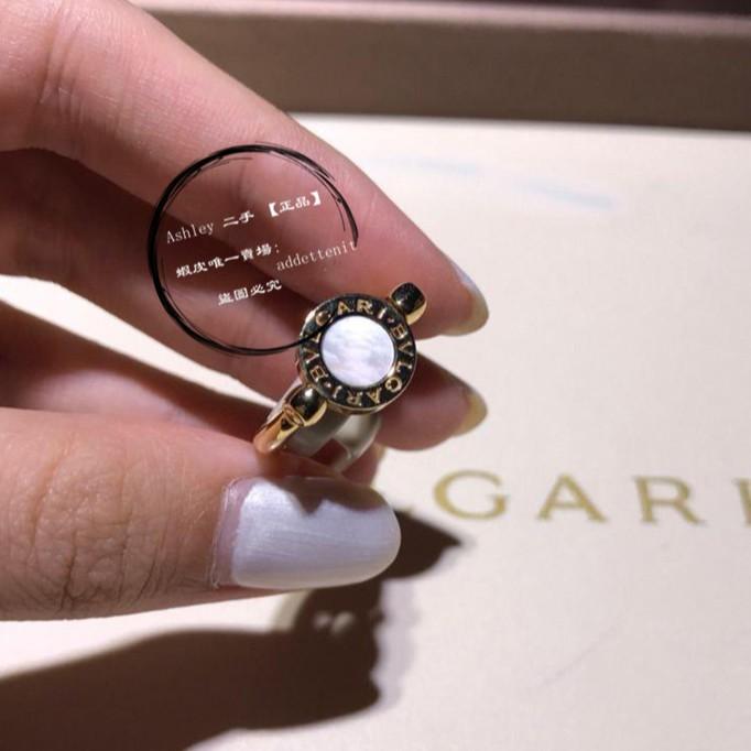 二手 Bvlgari/寶格麗 玫瑰金 圓環雙面 戒指 白貝母 紅玉髓 戒指