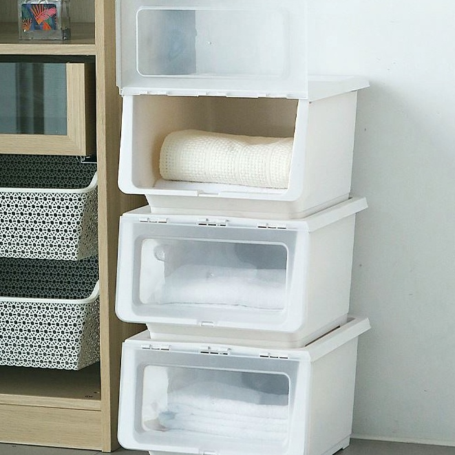 現貨速發 日式家居用品 免運前開式收納盒整理箱衣服透明有蓋斜翻蓋收納箱特大號大容量塑膠盒