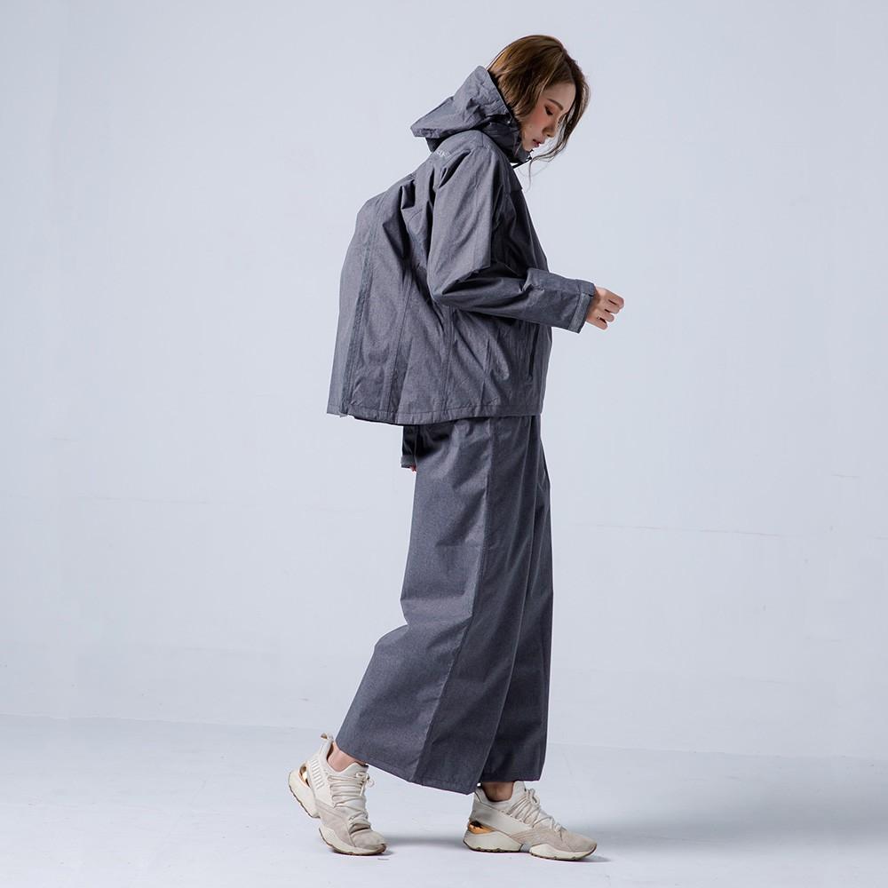 奧德蒙 兩件式雨衣 揹客 Packerism 夾克式背包款衝鋒雨衣(搭配淺灰防水寬褲) 深鐵灰 雨衣《淘帽屋》
