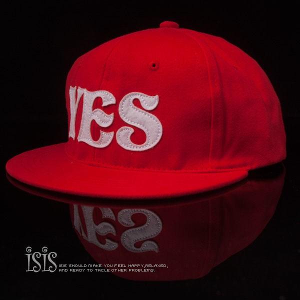 KURO-SHOP潮流新風格- 紅色 YES NO 短帽沿 棒球帽 板帽