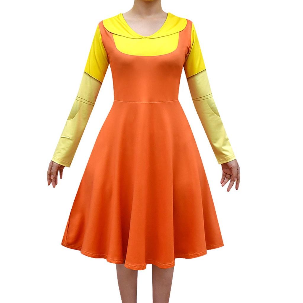 ✨【魷魚遊戲】✨服裝Squid Game 123木頭人衣服小孩 成人連衣裙面具