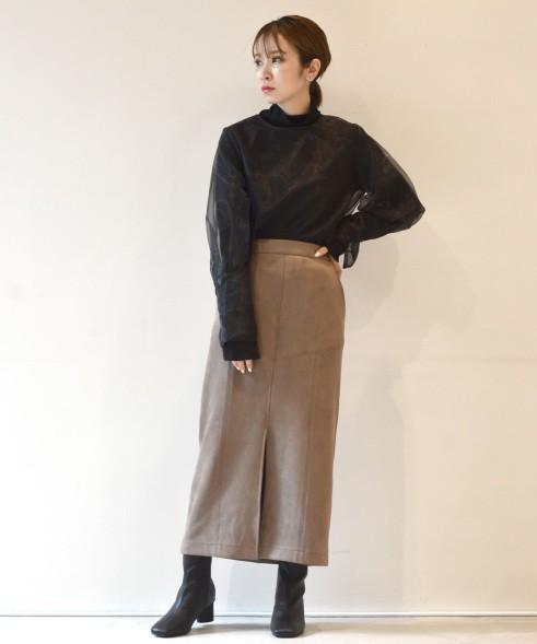 日單秋冬新品女麂皮絨半身裙 高腰日系鉛筆裙中長裙52P