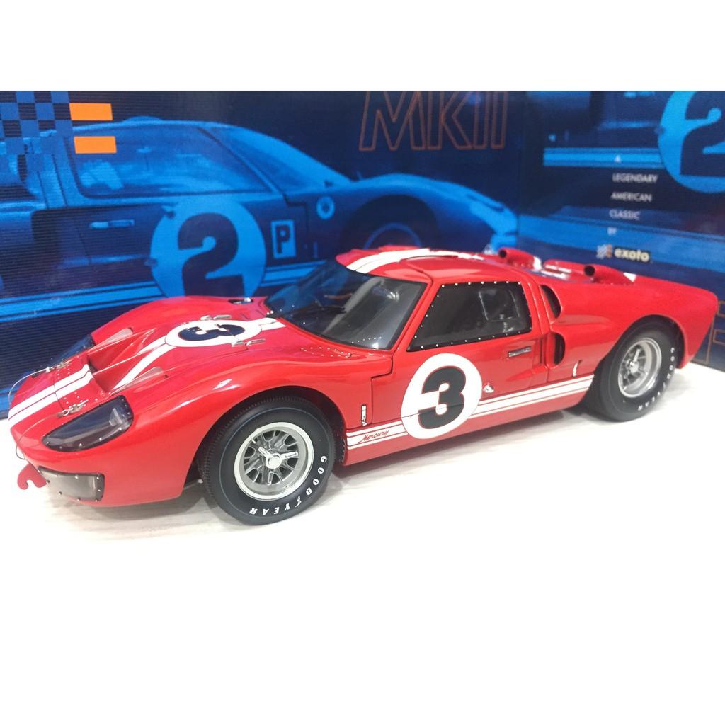 Exoto 1/18 福特 Ford GT40 MK II 硬頂 經典紅白條 #3 稀有