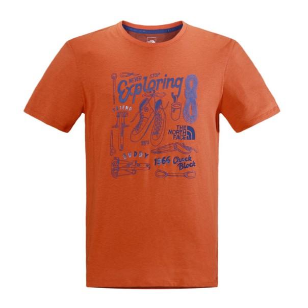 The North Face 男 LOGO短袖T恤 橘色