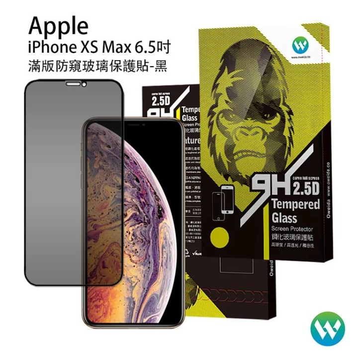 iPhone Xs Max 防窺 9H鋼化玻璃保護貼