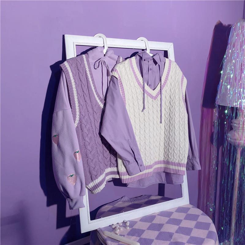 女生套裝 馬甲套裝 毛衣套裝 兩件式 秋季紫色毛衣針織衫馬甲外套寬鬆麻花韓版日系女chic刺繡草莓大學T