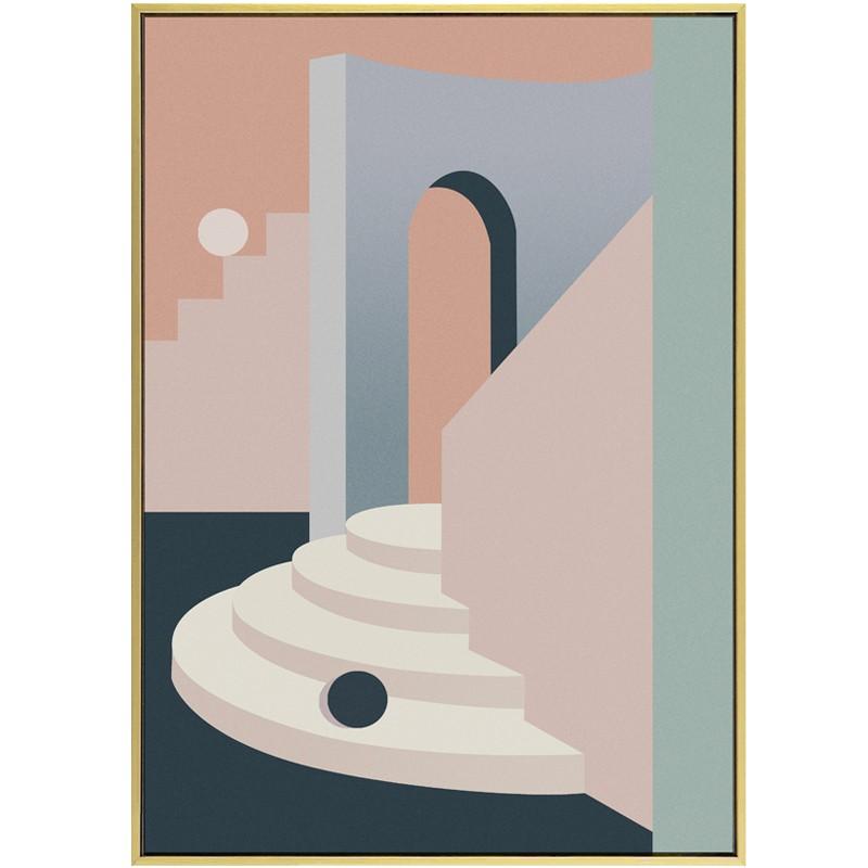 【全館免運】迷宮北歐客廳裝飾畫抽象幾何建筑玄關掛畫現代簡約餐廳莫蘭迪壁畫