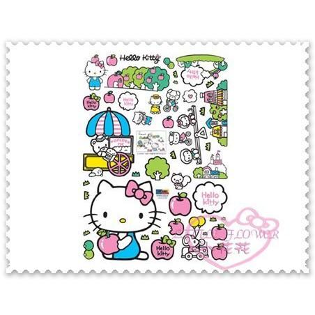 ♥小公主日本精品♥Hello Kitty 磁磚貼壁貼遊樂園坐姿蘋果貼紙磁磚貼玻璃貼佈置貼韓國製 33011400