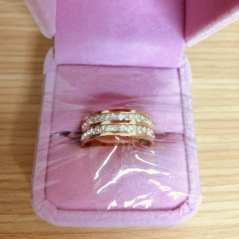 鈦鋼玫瑰金雙圈戒指9號附精美戒指盒