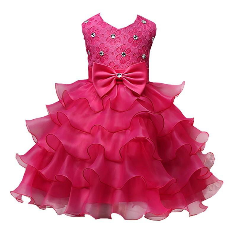 蕾絲女童連衣裙 鑲珠蝴蝶結公主禮服網紗裙 適合身高70cm - 90cm