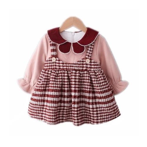 女童英倫風甜美氣質加絨格子洋裝 女童連衣裙 女童洋裝 【蘋果小舖】(RE)1912 A7